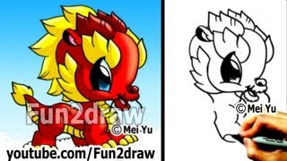How to Draw a Dragon - Chinese Dragon - Cute Drawings - Art Lessons - Fun2draw(Draw & COLOR at your own pace with Fun2draw APPs! Apple: https://itunes.apple.com/artist/mei-yu/id674269351?mt=8 Android: ..., 2013-01-27T19:00:51.000Z)