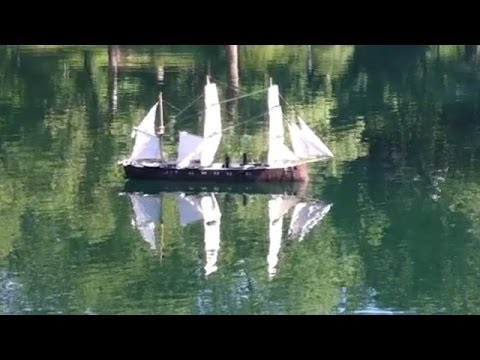 Old Time Sailing Ship Model On Conservatory Water in New York's Central Park