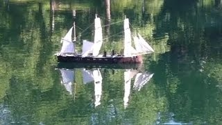 Old Time Sailing Ship Model On Conservatory Water in New York