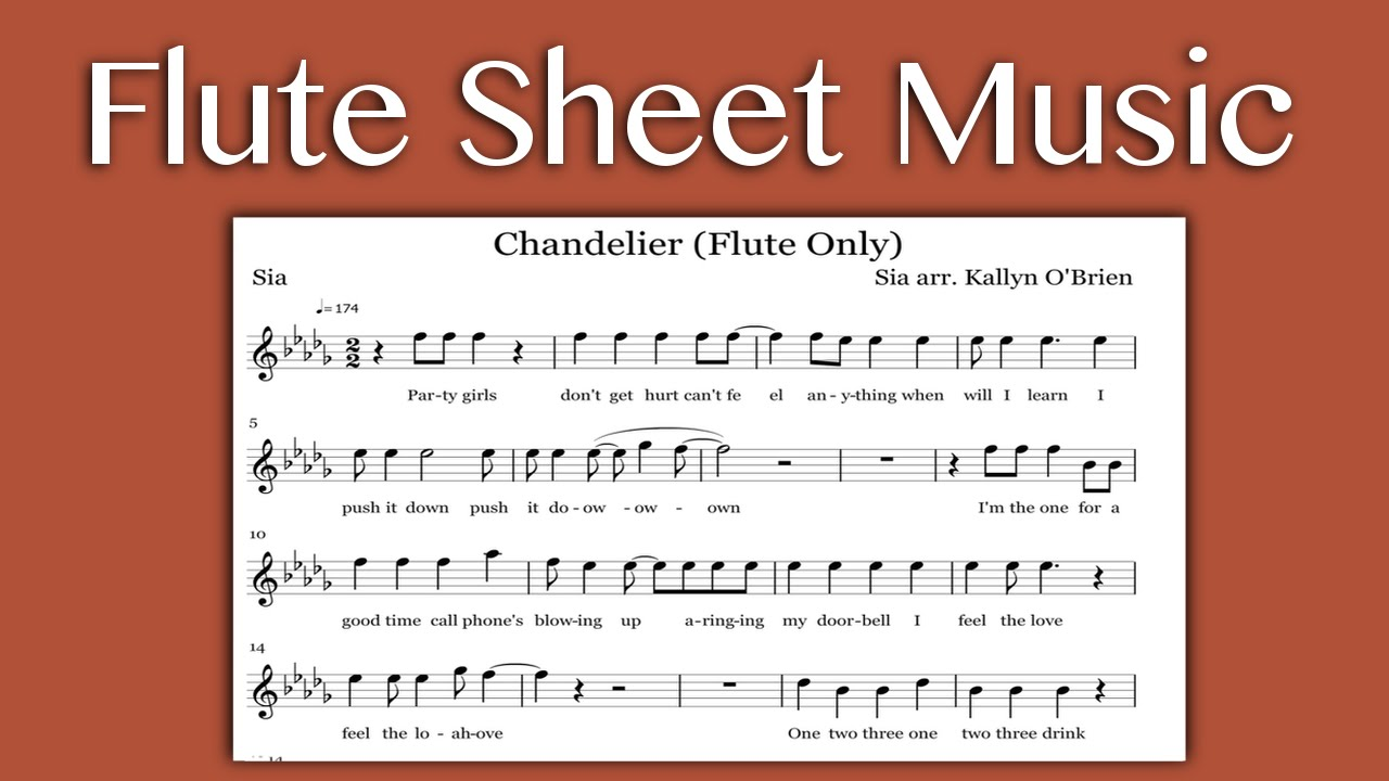 Chandelier sia flute sheet music youtube mozeypictures Image collections