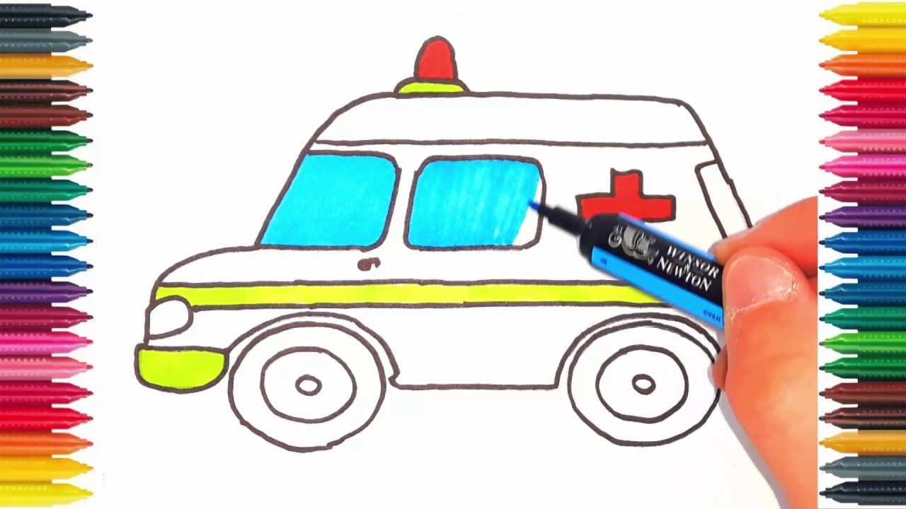drawing ambulance how to draw ambulance and learn colors nursery