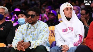 Justin Bieber And Usher at the Lakers vs Warriors Game at Staples Centes!