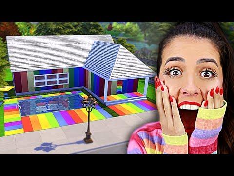FIZ UMA CASA ARCO ÍRIS (Desafio da Cor - The Sims 4)