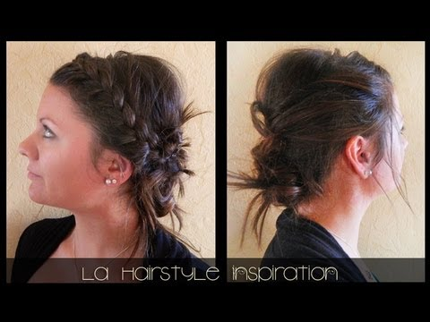 Chignon sur cheveux lisses twist and braid | L.A Hairstyle Inspiration - YouTube