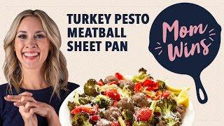 Turkey Pesto Meatball Sheet Pan Dinner with Bev Weidner | Mom Wins