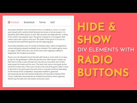 Hide And Show Div Elements With Radio Buttons Using HTML CSS And Jquery -- CSS Tabs