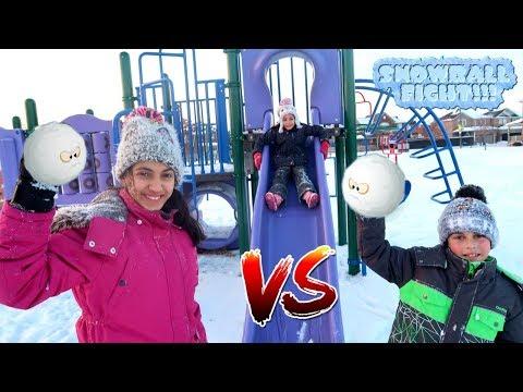 Kids Snow Ball Fight at the park!! - HZHtube Kids Fun