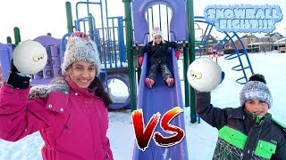 Kids Snow Ball Fight at the park!! - HZHtube Fun