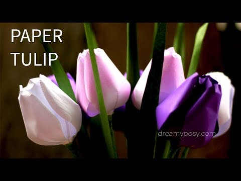 [FREE template] How to make paper tulip flower from printer paper