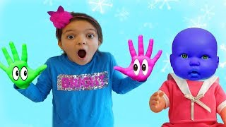 Masal and friends playing in colored paints, Learn Colors With Nursery Rhymes funny kids video