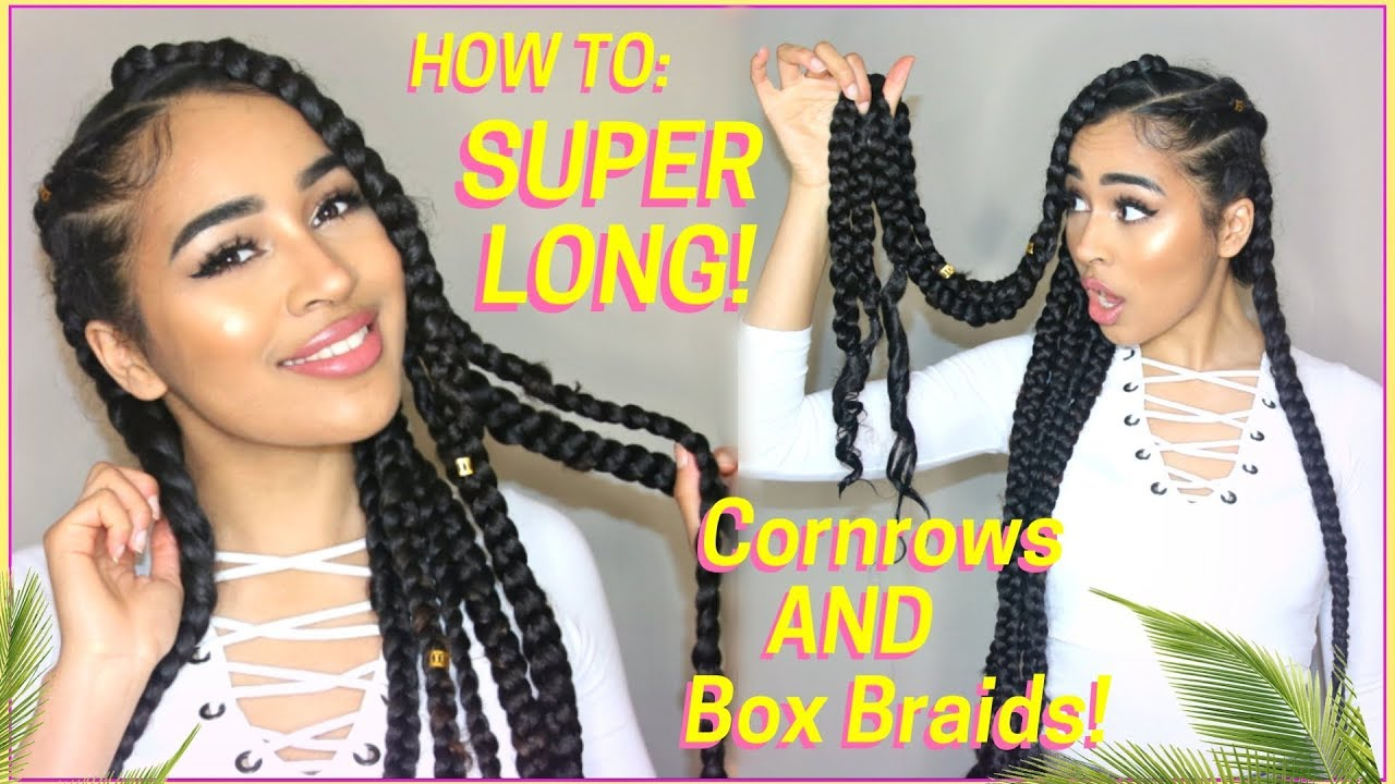 super long thick cornrows & box braids tutorial! vacation hairstyle for natural hair! lana summer
