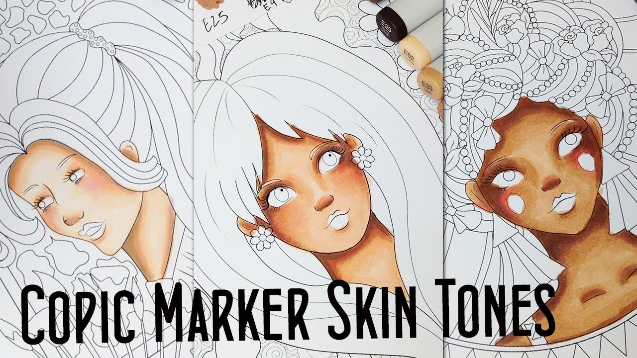 How To Color Different Skin Tones With 10 Copic Markers Copic Skin Tones Tutorial