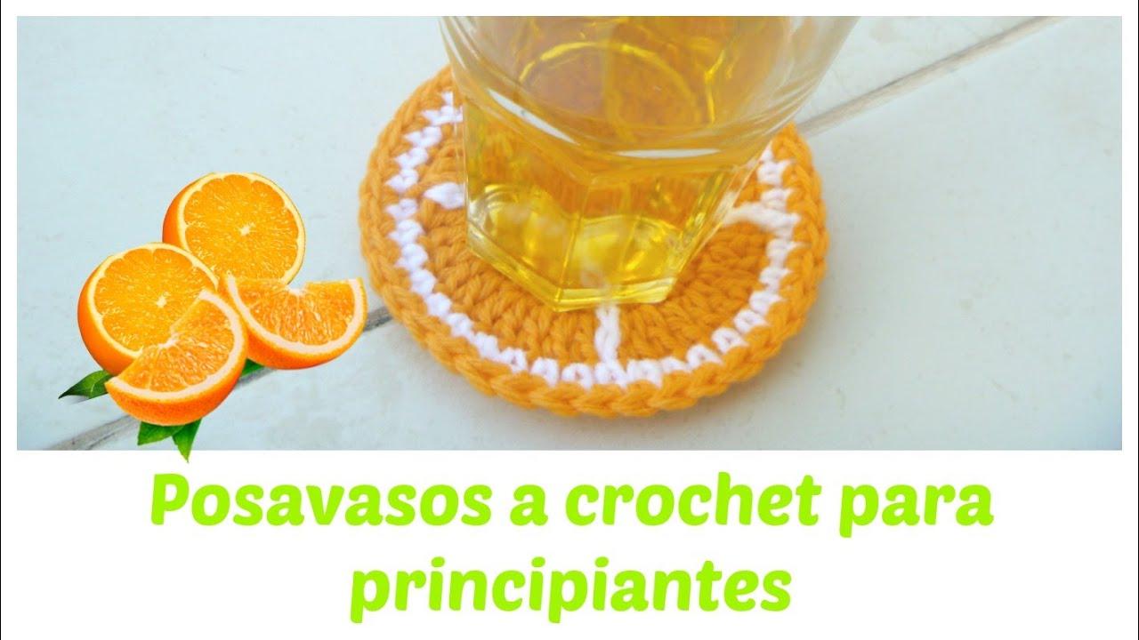 Posavaso a crochet frutales - YouTube