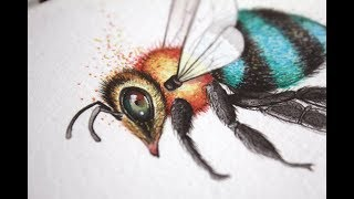Painting my Blue Bees Fabric Design