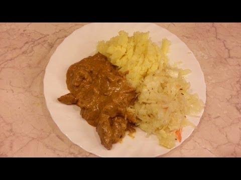 Бефстроганов из говядины со сливочным соусом. Видео рецепт