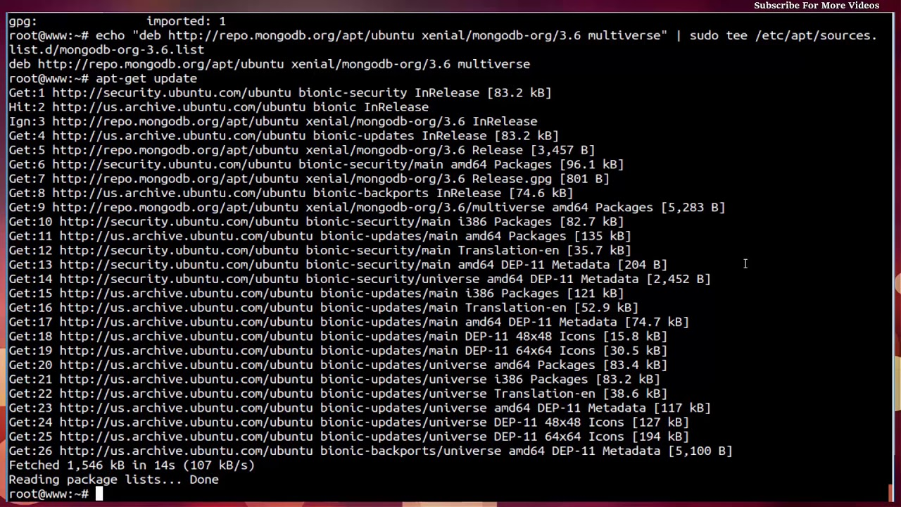 install mongodb 3.6 ubuntu18