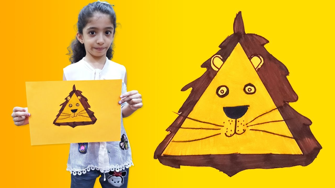 How to Draw and Colour a Lion || Triangle Shape || VERY EASY for Kids || Eshoo Activities