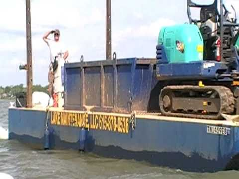 Towing Amphibious Excavator by Barge