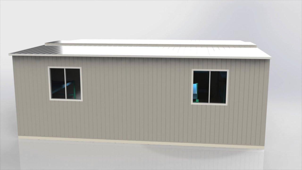 Modulo plegable de 32 metros oficina prefabricada youtube for Oficina prefabricada