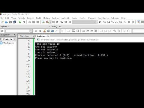 Basic math programming in codblock