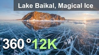 360 video, Lake Baikal, Magical Ice, Russia. 12K aerial video