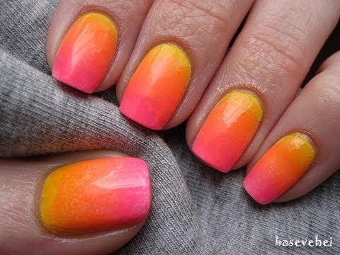 Sunset neon ombre nails - tutorial - Neonowe ombre - Basevehei - YouTube
