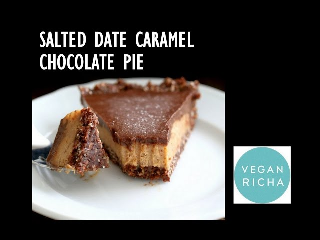 Salted Date Caramel Chocolate Pie - No Bake | VeganRicha.com