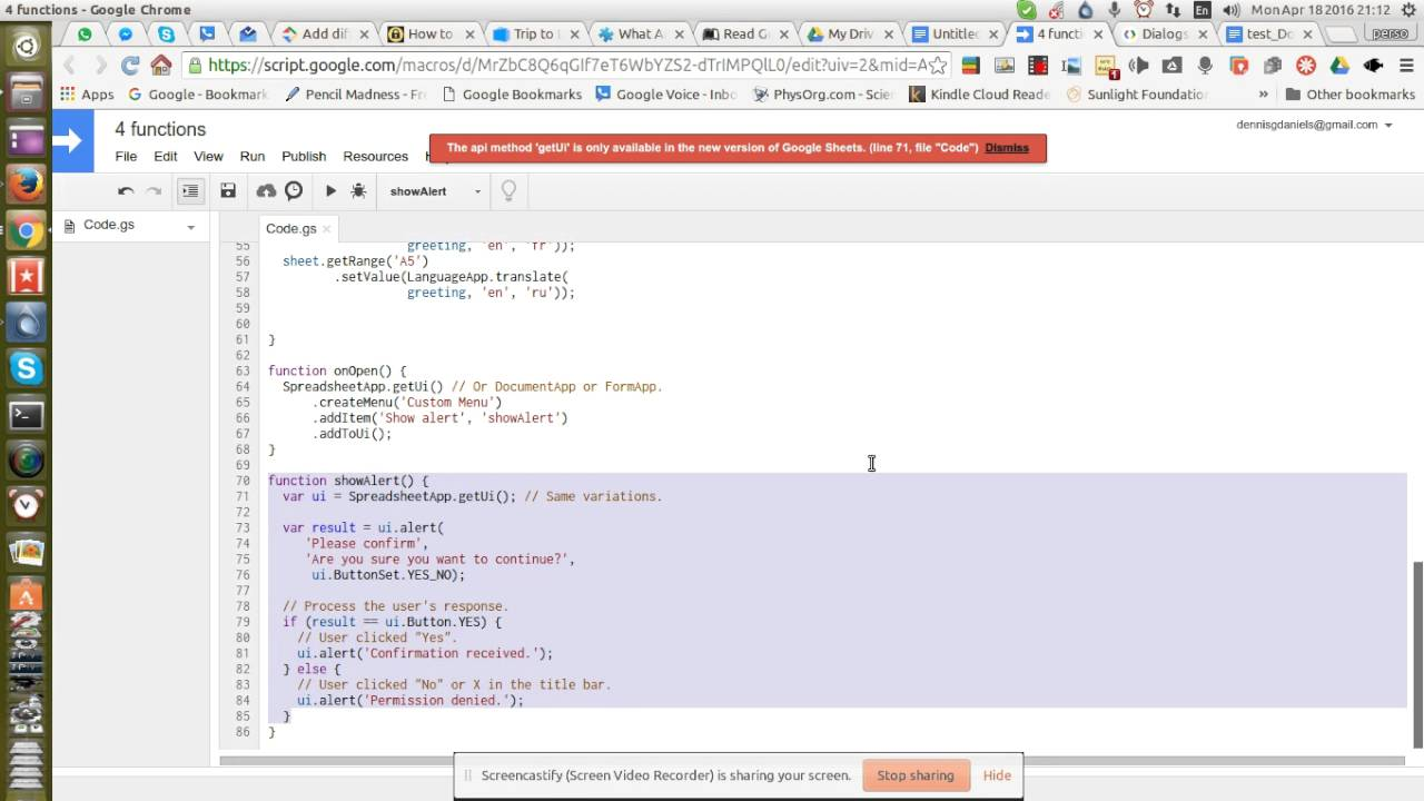 google apps script bug in code from google developer site