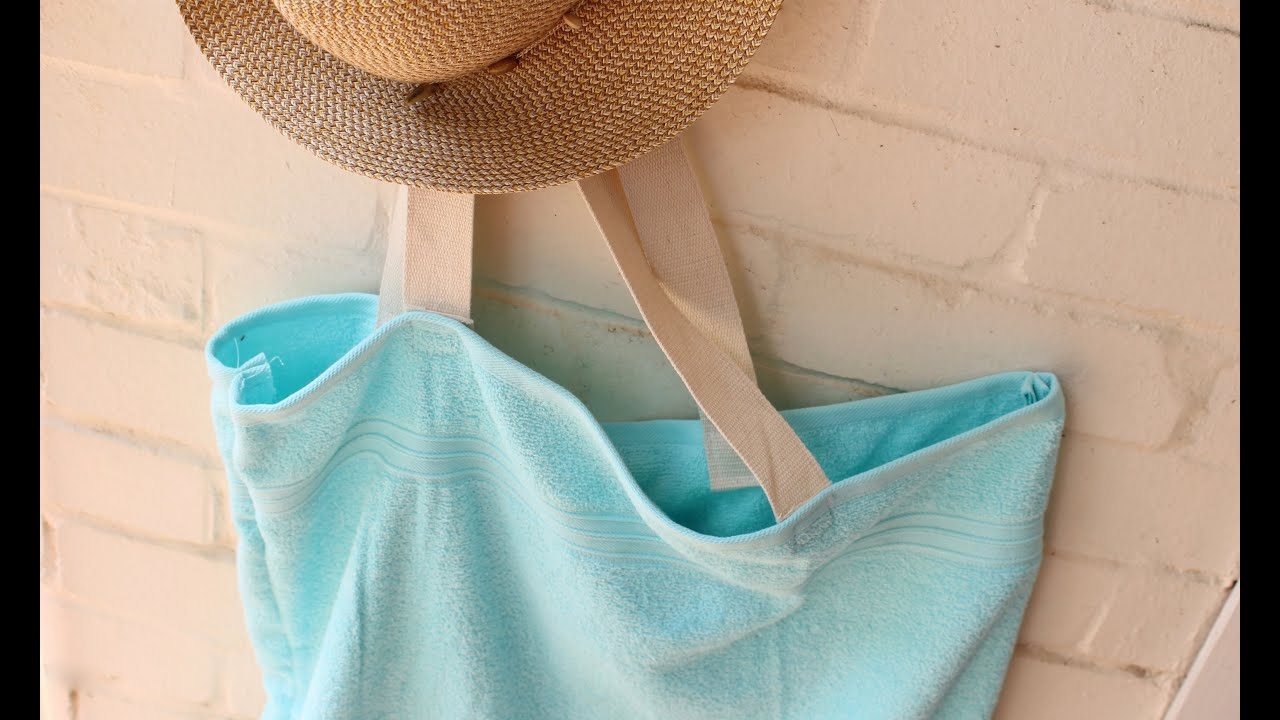 Easy upcycle craft: DIY beach towel tote bag - YouTube