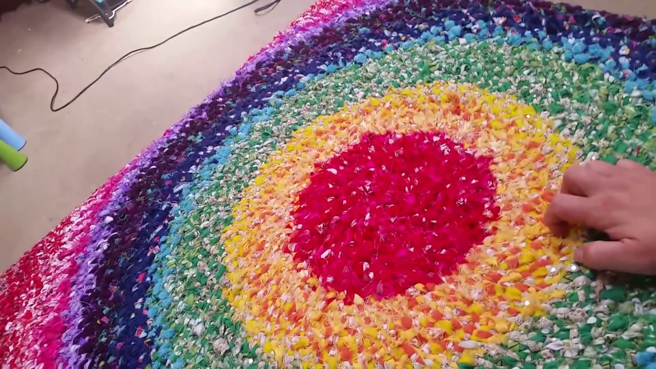 Fabric Rug Making No Sew Diy Rag Rug Tutorial Youtube