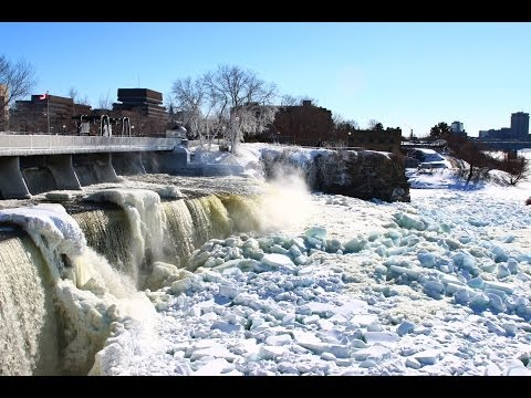 Rideau Falls on Sussex Drive during winter