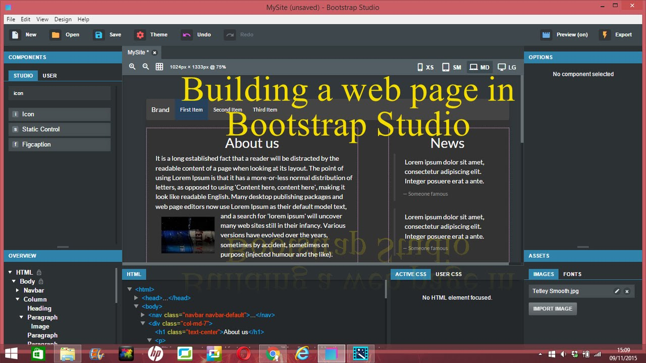 How to make a web page in Bootstrap Studio