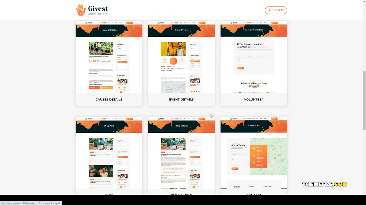 Givest - Non Profit Gatsby Template charity template charity foundation Kanae
