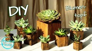 Blumentopf selber machen aus Holz - DIY - Pflanztopf - Sukkulenten Idee - plant pots ideas