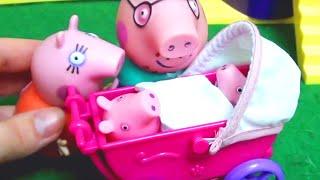 Мультфильм игрушками Свинка Пеппа Свинка Pig. Рождение малыша. Коляска
