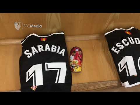 Vestuario Sevilla FC - Old Trafford. 13/03/18. Sevilla FC