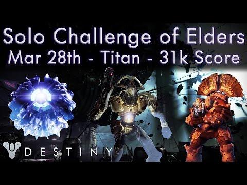 Destiny - Solo Challenge of Elders 31k Score - March 28th - Melee Kill Bonus, Berserk, Chaff