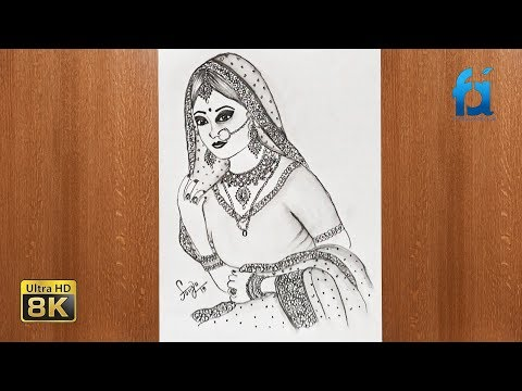 How to Draw Beautiful Bride With jewellery Design pencil sketch drawing    Farju Art & Craft