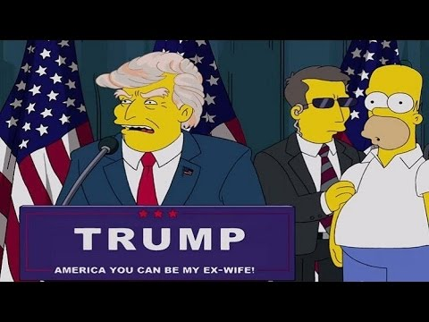 Simpsons Donald Trump 2000 vs Trump escalator entrance 2016