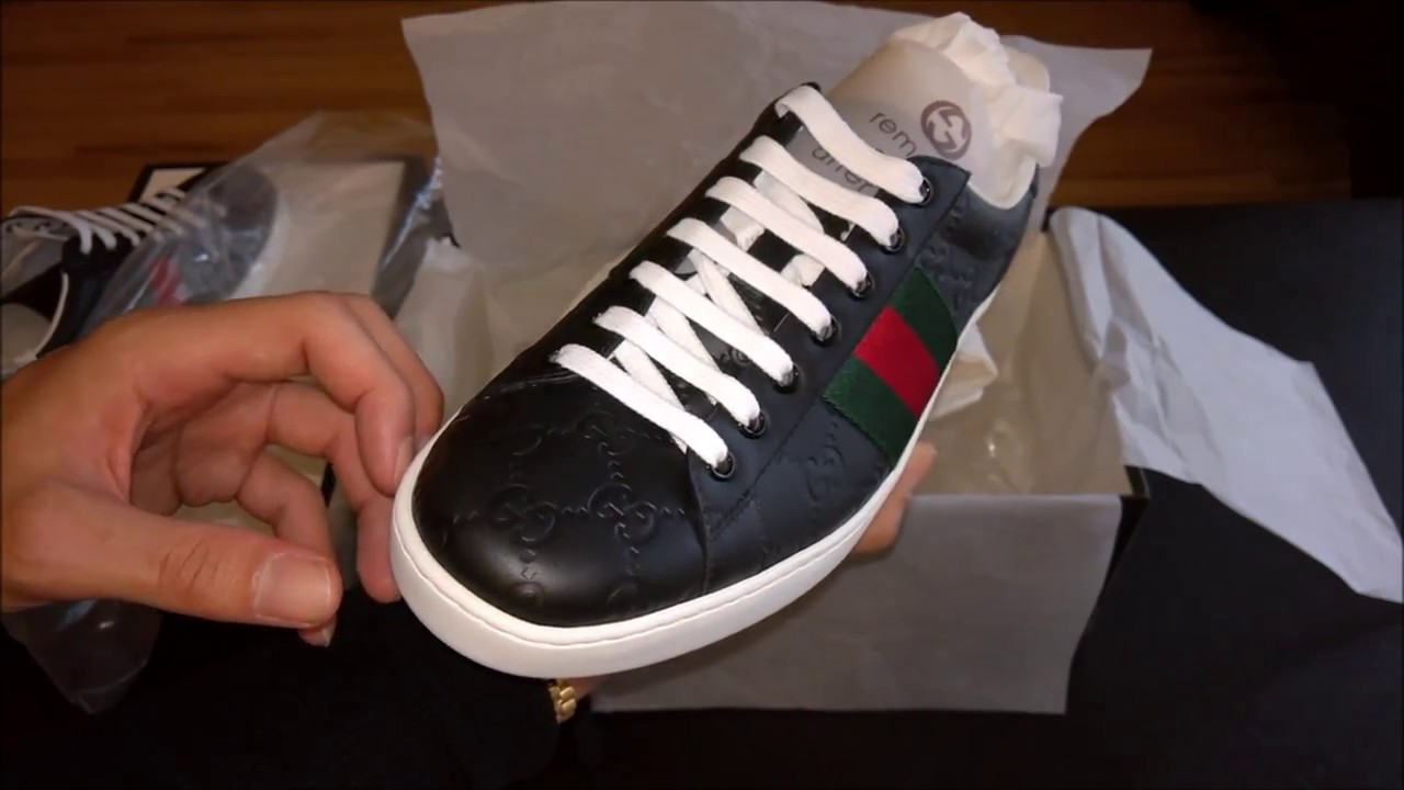 7307b50d07d Gucci  New Ace  Black Leather Low Top Sneakers Review - YouTube
