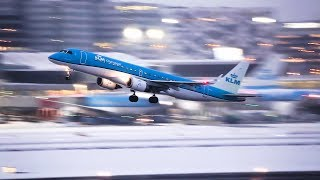 SNEEUW! Schiphol, eerste vluchten vertrekken na sneeuwvrij maken landingsbaan Dec. 2017