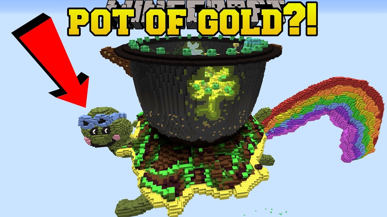 minecraft pot of gold at the end of the rainbow custom map