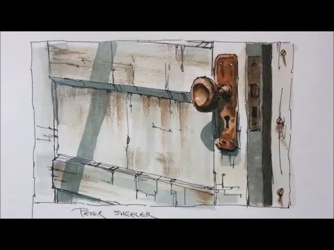 Line and wash demonstration of an Old Door watercolor painti