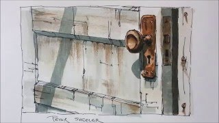 line and wash demonstration of an old door watercolor painting easy to follow and learn