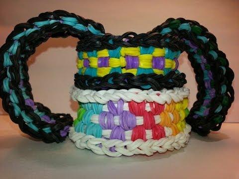 ONE LOOM Long Checkerboard Bracelet Tutorial by feelinspiffy (Rainbow Loom)