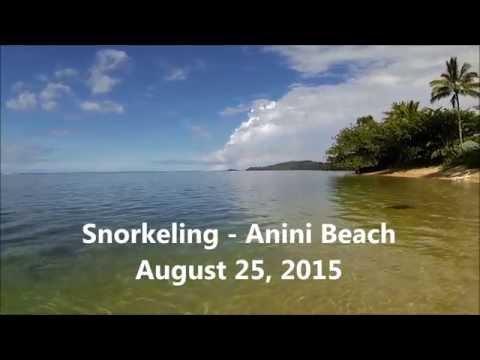 Snorkeling at Anini Beach, Kauai - 8-25-2015