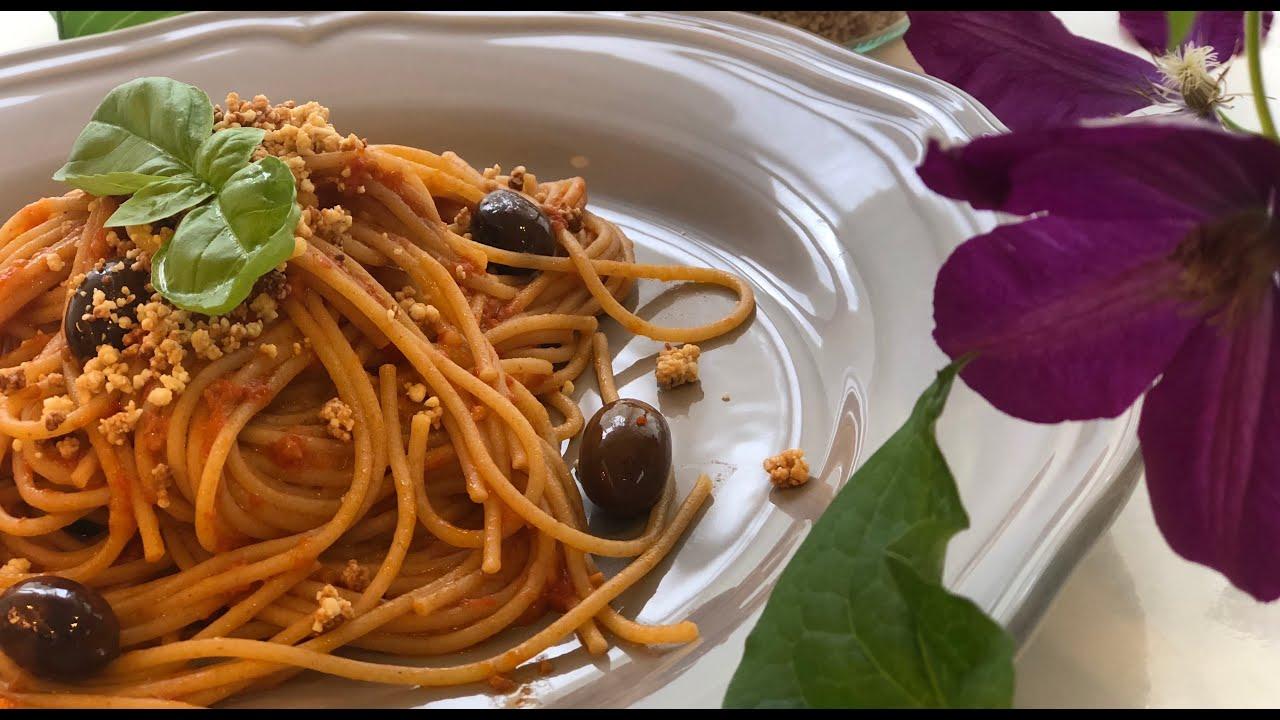 "YouTube recipe ""Tomato sauce pasta & vegan parmesan cheese"" / ""トマトソースパスタとヴィーガンパルメザンチーズ"" レシピ"