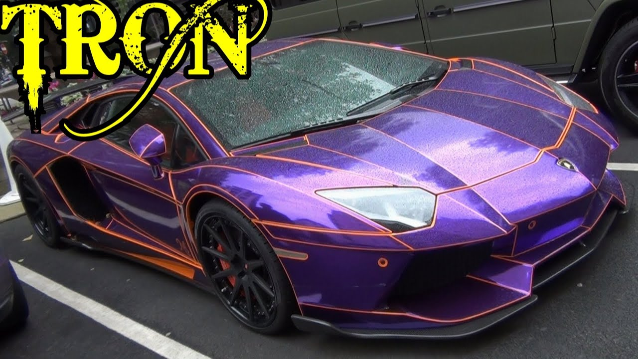 tron lamborghini aventador chrome purple and orange start up combos youtube. Black Bedroom Furniture Sets. Home Design Ideas