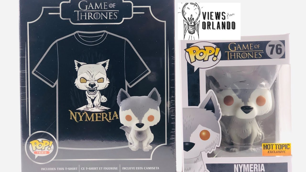 HOT TOPIC EXCLUSIVE Nymeria Funko POP tshirt and Pop large Game of thrones