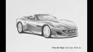 How to Draw a Ferrari Portofino - a Narrated Sketch
